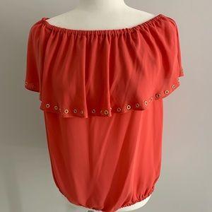 Michael Kors coral sleeveless blouse